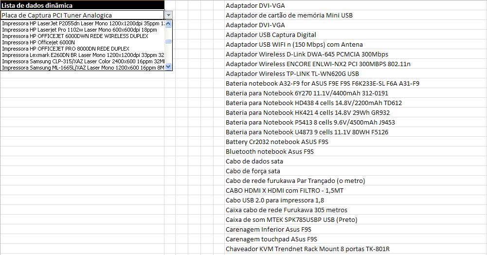 Lista de dados com tamanho dinâmico – Excel