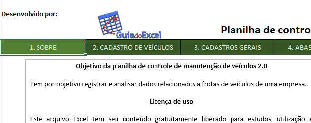 Planilha Excel de controle de manutenção de veículos 2.0