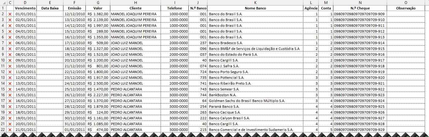 Planilha de controle de cheques Excel 2
